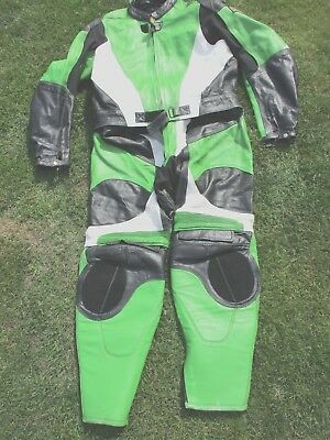 Men's Gpl Leathers Size 8Xl 2 Piece Green, Black & White Leather Motorcycle Suit