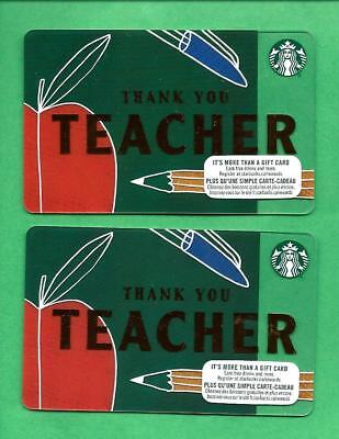 Pair of 2018 Starbucks Canada Teacher Gift Cards 6152