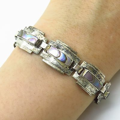 """Vintage Mexico 925 Sterling Silver Abalone Shell Wide Link Bracelet 6.5"""""""