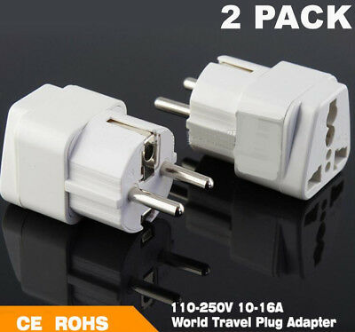 2Pc Universal 16A Europe Power Adapter Converter Wall Plug Socket AU UK US to EU