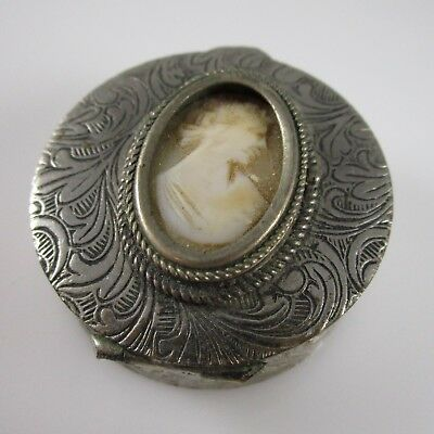 Cameo Trinket Box Italy Etched Design Vintage Silver | 20.3 g