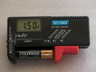 Battery Checker/Tester, Self-Powered Digital Display, AAA/AA/C/D,9V & ButtonCell