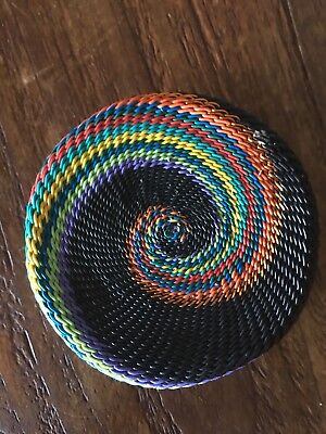 African Zulu telephone Wire Basket Colorful
