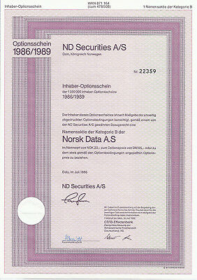 ND SECURITIES A/S Oslo Norwegen  1er Optionsschein über 1 Namensaktie Norsk Data