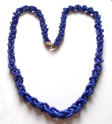 Vintage Art Deco Royal Blue Seed Beads Beaded Rope Flapper Long Necklace