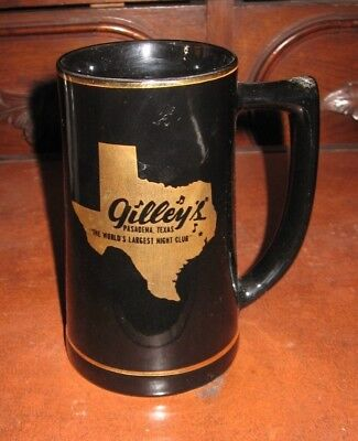 "Vintage Gilley's Night Club Pasadena Texas USA Ceramic Black Beer Mug 6.25"" Tall"