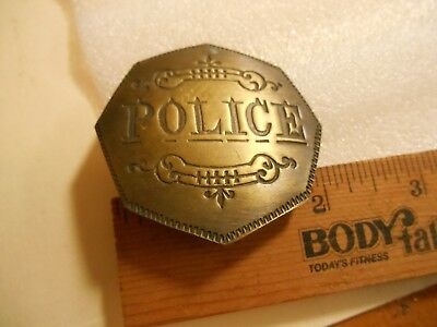 "Brass Police Badge 2"" Reproduction of old western style"
