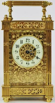Antique 19thc French 8 Day Gilt Bronze Ormolu Filigree Fretwork Carriage Clock