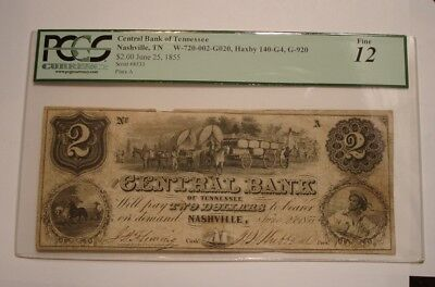 1855 $2 Two Dollar Central Bank of Tennessee PCGS Fine 12 Bank Note FASCINATING