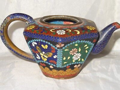 Antique Cloisonne Teapot Japanese Miniature Butterflies c1900