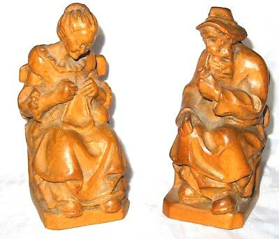 Antique Vintage Carved wood Figures BOPPARD Quality Hand Carved Figures