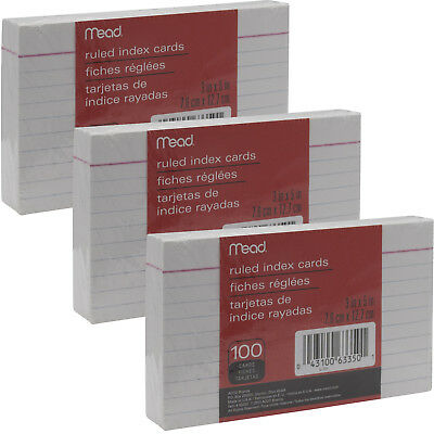 """Mead 3"""" x 5"""" Index Note Cards, Ruled, White, Pack of 300 Queue Cards(63350)"""