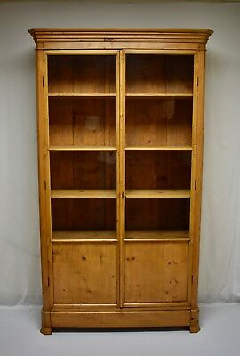 Antique French Pine Glazed Bookcase
