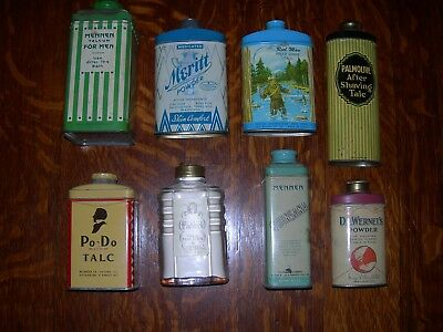 Vintage Men's Talc Powder Set Of 8 All Different - 7 Tin And 1 Glass