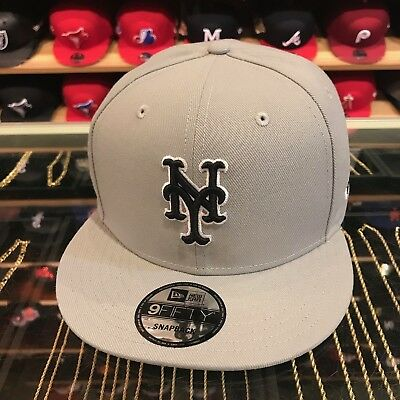 43736efe8a9 New Era New York Mets Snapback Hat Cap All GREY Black   White Outline