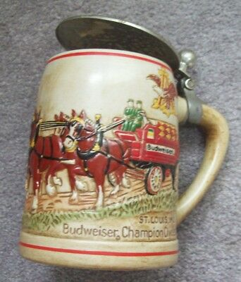 Budweiser CSL 9 Clydesdales Team & Wagon Stein by Ceramarte With Replaced Lid
