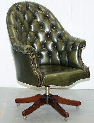 Harrods Chesterfield Directors Green Leather Executive Captains Office Chair