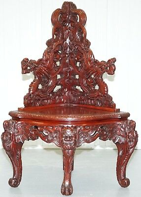 Very Rare Circa 1900 Chinese Lacquered Hand Carved Dragon Corner Chair Must See