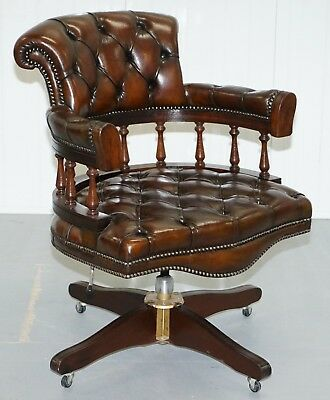 RESTORED ORIGINAL 1960's CHESTERFIELD BROWN LEATHER CAPTAINS DIRECTORS CHAIR