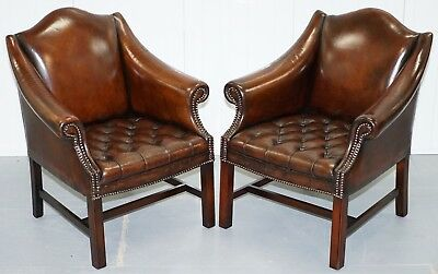 Rare Pair Of Fully Restored Chesterfield Whiskey Brown Leather Club Armchairs
