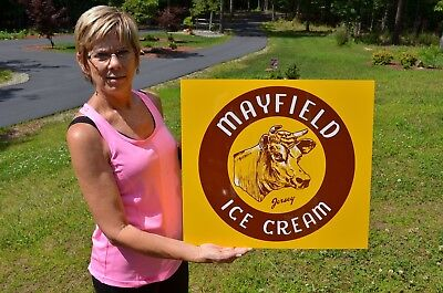 Old Style Mayfield Ice Cream Milk Jersey Cow Dairy Kitchen Sign Usa Made!