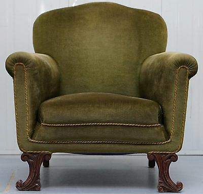 Rare Regency Circa 1800 Spade Feet Green Velvet Velour Club Armchair Rare Find
