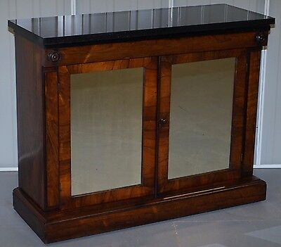 Antique Rosewood & Marble Top + Mirrored Doors Credenza Cupboard Cabinet Console