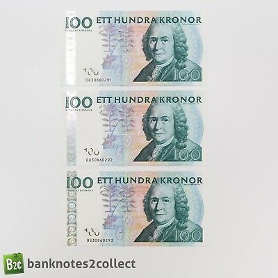 SWEDEN: 3 x 100 Swedish Krona Banknotes Consecutive Serial Numbers
