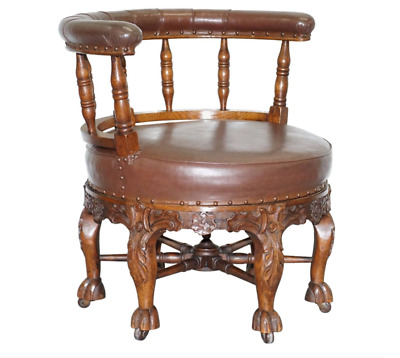 Fully Stamped 1860 Antique Dutch Colonial Burgermeister Captains Swivel Chair