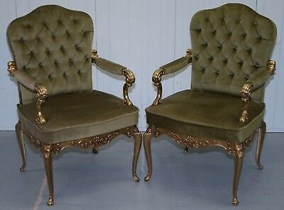 Pair Of Solid Brass Framed Chesterfield Tufted French Velour Armchairs Part Set