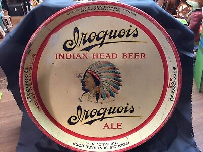 antique 1930's IROQUOIS  Indian Head beer Ale tray