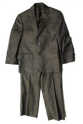 Angelico Boys Brown Wool Striped Long Sleeve Blazer Pants Suit Size 8R
