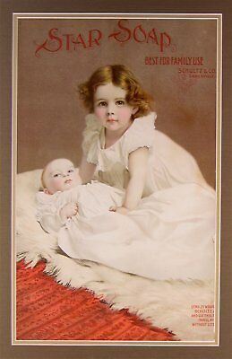 1890s STAR SOAP CHROMOLITHOGRAPH ADVERTISING SIGN WITH CHARMING LITTLE GIRL