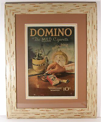 1937 Color Lithograph Tobacco Advertising Sign For Domino Cigarettes Paperboard