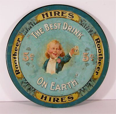 ca1900 HIRES ROOT BEER TIN LITHO ADVERTISING SERVING TRAY - RARE UGLY BOY TRAY