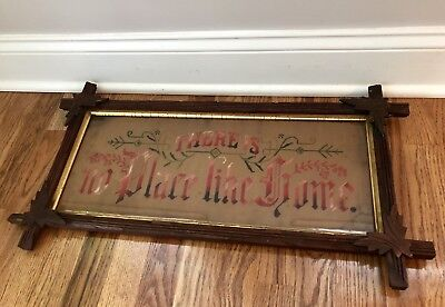 Antique Victorian Paper Punch Theres No Place Like Home Sampler Adirondack Frame