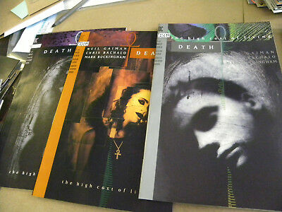 1993 Neil Gaiman all 3 ishs DEATH THE HIGH COST OF LIVING #1 up & GALLERY jm
