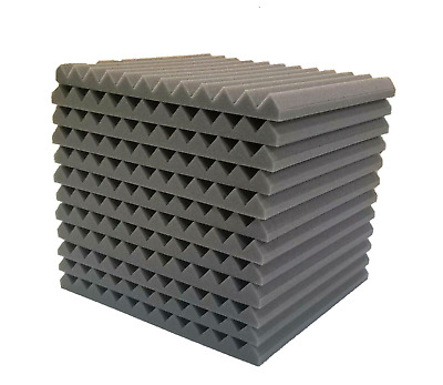 "12 pcs 12""x12""x1"" Acoustic Foam Gray Panel Tiles Wall Record Studio Sound Proof"