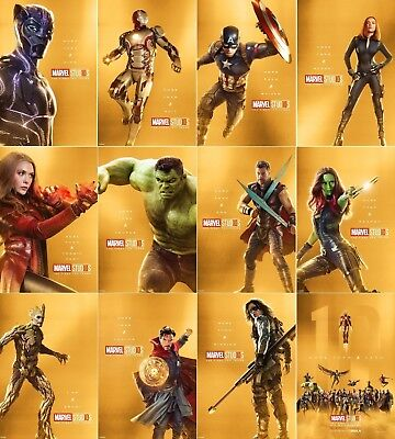 "Avengers infinity War Movie Poster 10 Years Marvel Comics Art Prnt 24x36"" 27x40"""