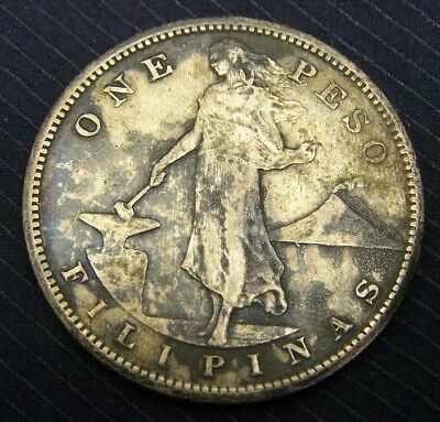 1908-S US Territorial Silver Dollar - 1 Peso Coin, Philippines