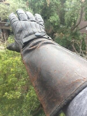 1950's Vintage mototocycle leather gloves gauntlet style pre owned