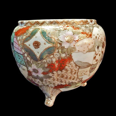 Satsuma Nippon Hand Painted Bowl Japanese Urn Vase with gilt moriage