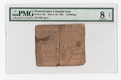 Pennsylvania Colonial Note Fr#PA-142 March 10, 1769 5 Shillings (PMG) 8 VG