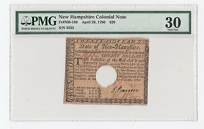 New Hampshire Colonial Note ZFr#NH-186 April 29, 1780 $20 (PMG) 30 Very Fine