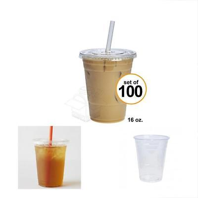 Sale 100 Sets 16 Oz. Plastic CRYSTAL CLEAR Cups W Flat Lids By Cold Drinks, Iced