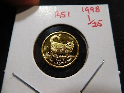 R51 Isle of Man 1998 GOLD 1/25 Oz. Birman Cat Crown Proof