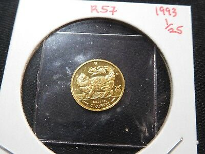 R57 Isle of Man 1993 GOLD 1/25 Oz. Main Coon Cat Crown Proof In Original Seal