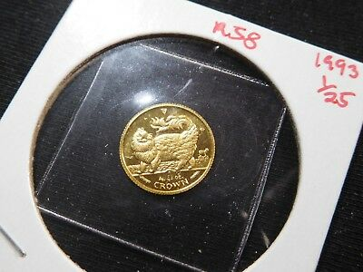 R58 Isle of Man 1993 GOLD 1/25 Oz. Main Coon Cat Crown Proof In Original Seal