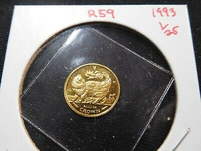 R59 Isle of Man 1993 GOLD 1/25 Oz. Main Coon Cat Crown Proof In Original Seal
