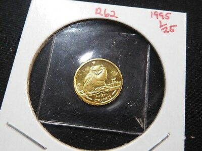 R62 Isle of Man 1995 GOLD 1/25 Oz. Turkish Cat Crown Proof In Original Seal